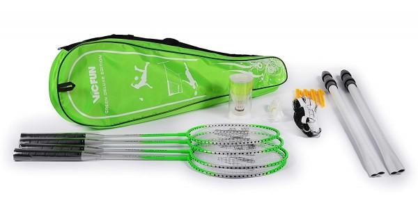 Badmintonset Federball.-Set Green Deluxe Edition (4 Schläger + Badmintonnetz)