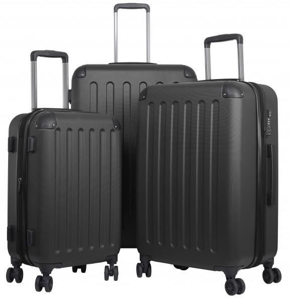 Reisekoffer Gepäckset mit 3 Hartschalen-Koffer, Trolley mit TSA-Schloß, Zwillingsrollen